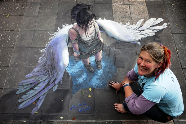 My Blue Angel, 3d chalk art by Jenny McCracken